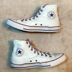Red White Blue Converse High Tops